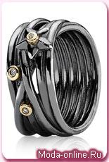 Pandora Oxidised Silver, 14ct Gold and Diamond Star Ring
